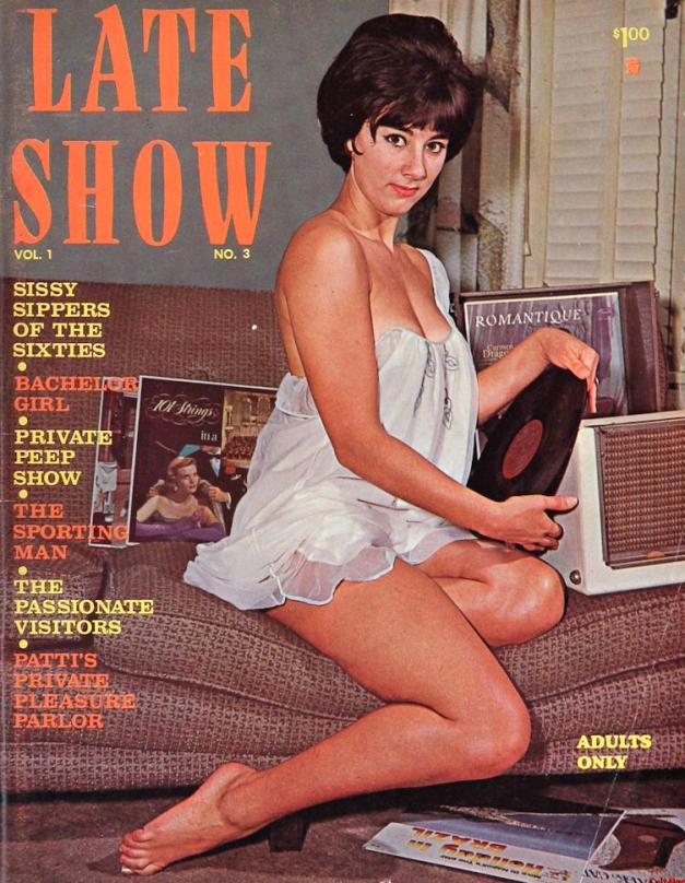 Late Show Magazine - sexy pin up model from the 60s holding onto a record