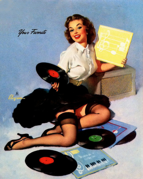 50s pretty pin up model wearing skirt, looking through vinyl recods, I bet she's looking at that new StrangeFlow record!