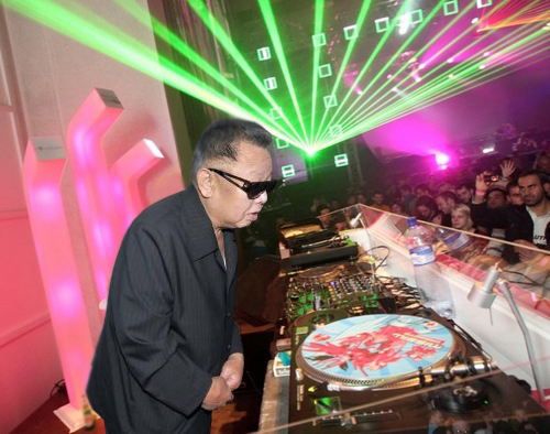 "Perhaps Kiim Jong illin is celebrating the release of ""Simteks and StrangeFlow Present North Korean Neuro Bass Bombz From Outer Space!"""